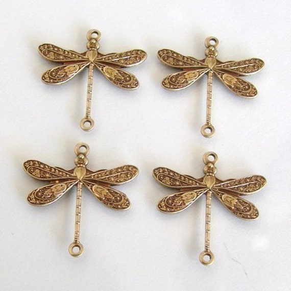 Antique gold brass dragonfly connectors mm made