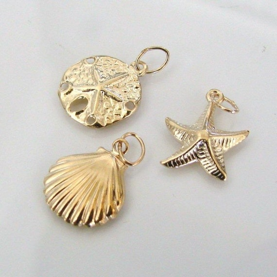 Set of Sea Life Charms - 14K Gold Filled Starfish, Shell and Sand Dollar