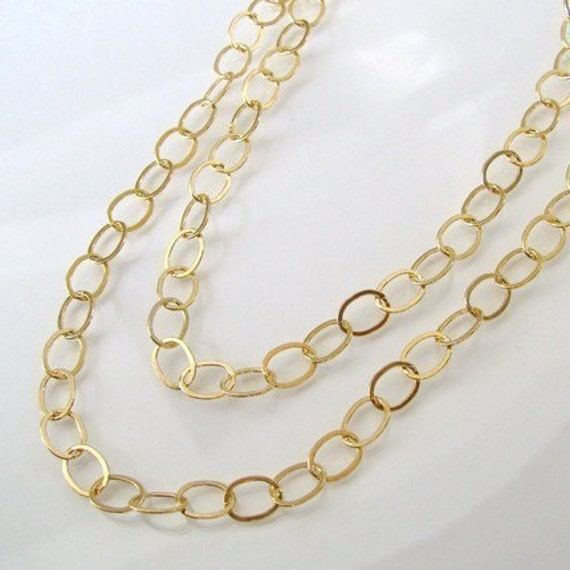 Extra Long 42 Inch 14K Gold Filled Layering Chai - 8.8x6.6mm Oval Links - Custom Lengths Available