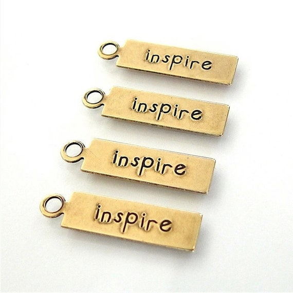 4 Pcs. Brass Inspire Affirmation Charms - 5x20.5mm