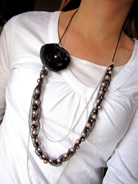 Lace and Pearl Drape Necklace (with removable flower hair clip)