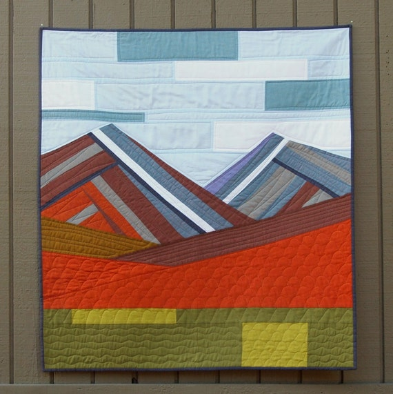 Contemporary Wall Quilt Modern Mountains
