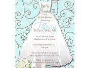 10 Invites - Bridal Shower Invitation  //you can change the colors// Tiffany design