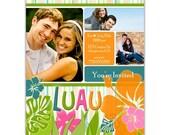 10 Invites - Bridal Shower Invitation  //you can change the colors// Luau design