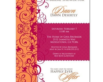 Pink and Orange Bridal Shower Invitation • PRINTED on CARDSTOCK