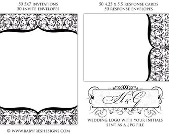 50 Wedding Invitation Kit - includes envelopes - includes WEDDING LOGO
