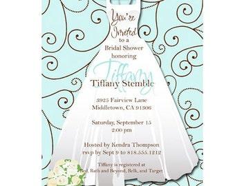 Wedding Dress Bridal Shower Invitation - Tiffany design • PRINTED on CARDSTOCK