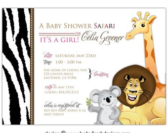 Safari Baby Shower Invitations • Jungle Baby Shower Invites • PRINTED on CARDSTOCK