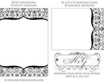 100 Wedding Invitation Kit - includes envelopes - includes WEDDING LOGO