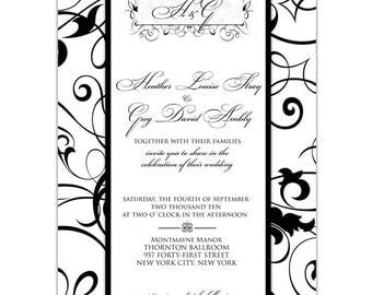 Wedding or Bridal Shower Invitation  //customize with your colors// - Formal swirls design