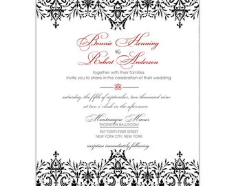 Black Damask Wedding Invitation • Elegant Lace Bridal Shower Invite • PRINTED on CARDSTOCK