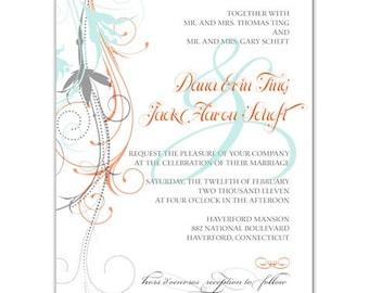 Floral Modern Wedding Invitation  • PRINTED on CARDSTOCK