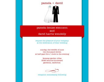 Digital File - Wedding or Bridal Shower Invitation  //customize with your colors// - Bride and Groom design