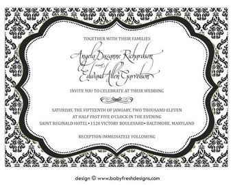 Digital File - Wedding or Bridal Shower Invitation  //customize with your colors// - Ornate design