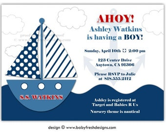 Digital File - Baby Shower Invitation //you can change the colors// Ashley design