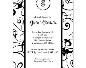 Digital File - Bridal Shower invitation //you can change the colors// - Gwen design