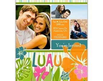 Luau Engagement Party Invitation • Luau Bridal Shower Invite • Tropical Wedding Shower • PRINTED on CARDSTOCK