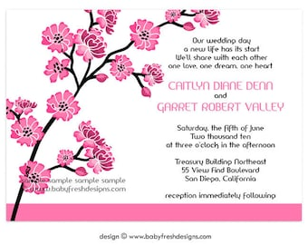 Digital File - Wedding or Bridal Shower Invitation  //customize with your colors// - Cherry Blossom design