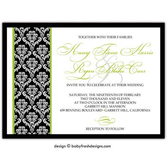 Digital File - Wedding or Bridal Shower Invitation  //customize with your colors// - Traditional Damask design