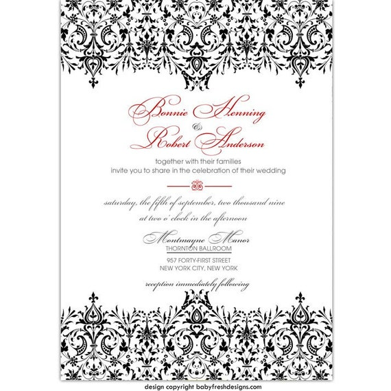 Digital File - Wedding or Bridal Shower Invitation  //customize with your colors// - Damask design