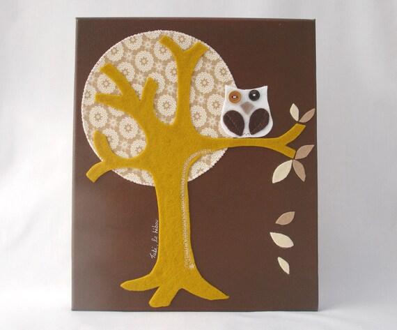 Children decor, Art for Kids, Owl in Felt, 30x25cm Canvas