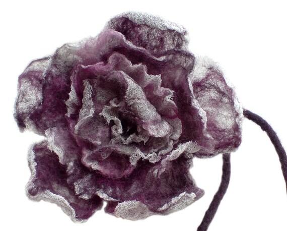 Purple Nuno Felt Rose, Lilac Felt Rose