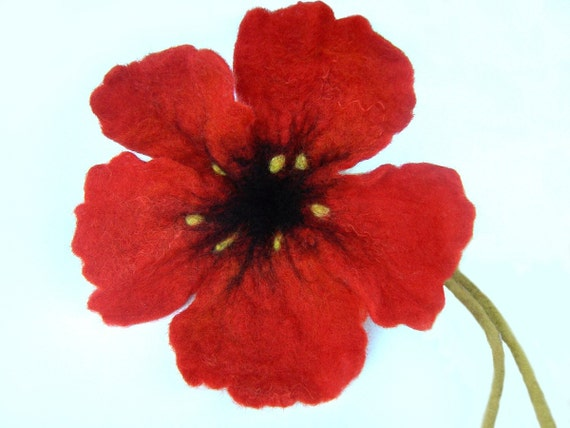 Felted Red Poppy Flower for Home Decoration, for Easter Decoration, Easter Table