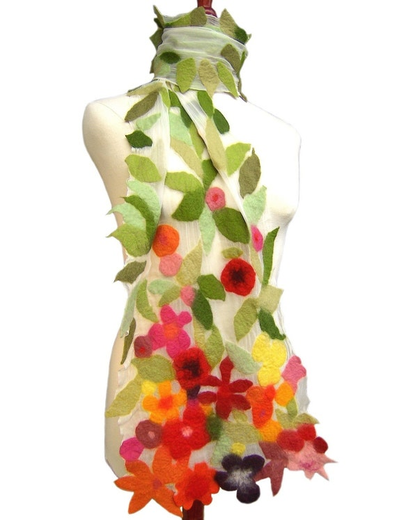 Felt Scarf With Flowers, Nuno Felt Scarf