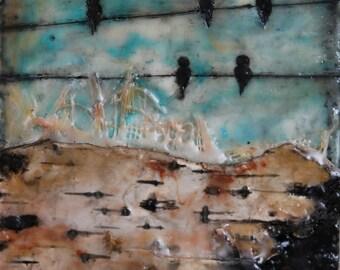 ON SALE - Original mixed media/encaustic on wood
