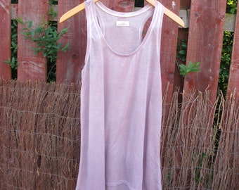 Blush Pink Cotton Mix Ombre Racer Back Vest Top - Womens Naturally Dyed Organic Summer Fashion