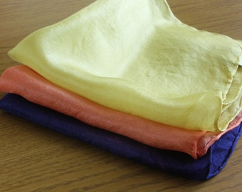 Summer Brights Silk Handkerchiefs- Set of Three - Naturally Dyed - Blue, Coral, Yellow - Hand Dyed Hankies - Gift Wrapped