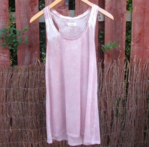 Dusky Rose Pink Cotton Mix Ombre Racer Back Vest Top - Womens Naturally Dyed Organic Summer Fashion