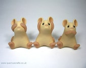See No Evil, Hear No Evil, Speak No Evil Three Wise Mice Ornament Sculpture
