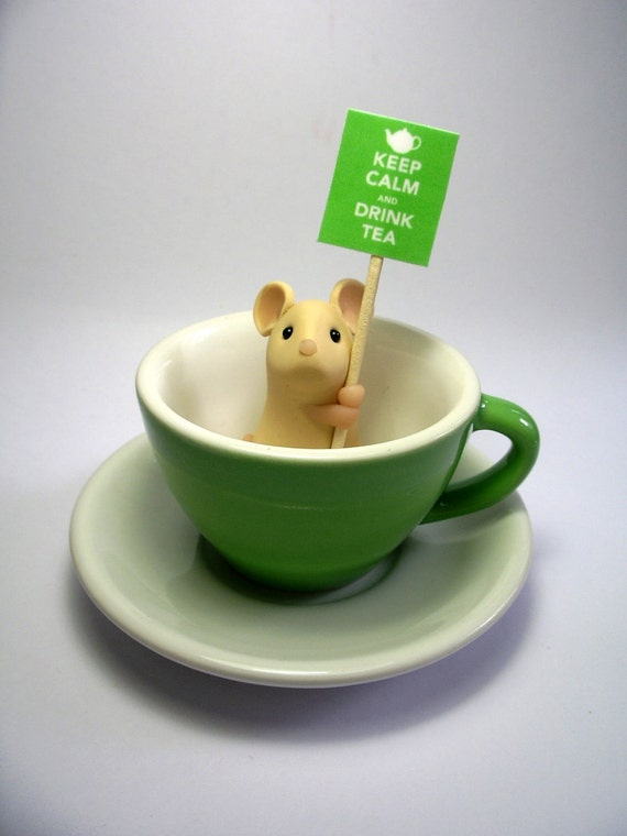 RESERVED: Green Teacup Mouse - 'Keep Calm and Drink Tea'