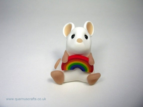 Cute Little White Mouse with Rainbow Ornament Sculpture Cake Topper