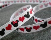 2 yds, 3/8 Love Mickey and Minnie on White Grosgrain Ribbon