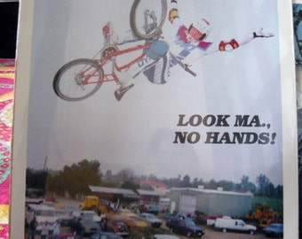 Vintage 1980's Look ma no hands Poster Print