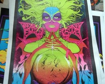Vintage 1980's Love Goddess poster print. Neon Colors. Pop Brilliant!