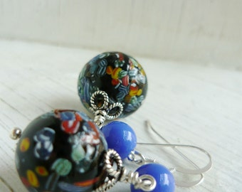 Millefiori Blue Sea Vintage collectable Mosaic glass beads and Czech glass in sterling silver Pair of Earrings