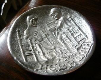 Nice PEWTER Engraved Decoration Footed Plate- Men Working - HEBRUAR FEVRIER