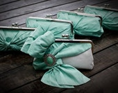 RESERVED FOR ALLENE Mint Green Bridal Clutches -  Bride & Four Bridesmaids