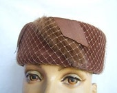 Vintage Brown Pillbox Hat with Netting and Fur Trim Detail