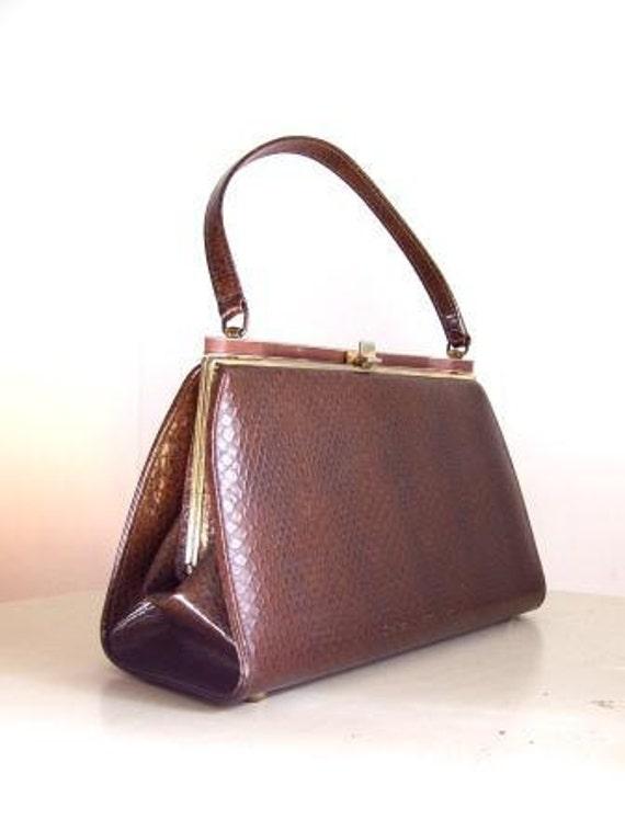 Vintage Brown Vegan Faux Lizard Kelly Style Purse Handbag