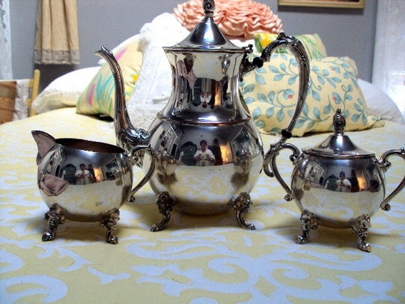 Vintage Estate Sheridan Silver Co. Silver on Copper 3 Piece Tea Service Forties