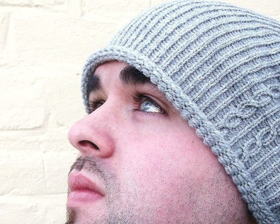 Mens slouch hat, large baggy beanie, cable design, custom made in any colour.