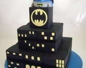 ON SALE. Batman Theme Square Favor Box Cake