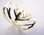 SALE: Golden Filigree Adjustable Leaf Skeleton Ring - bridesmaids - weddings - affordable gifts - Spring Summer