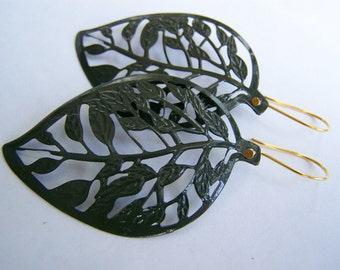 Big and Bold Olive Green Leaf Skeleton Earrings - Enamel Plated Earrings - Filigree Earrings - Fall Autumn Winter gifts