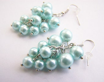 Heavenly Blue Pearl Cluster Earrings - weddings - bridesmaids - limited - long - cluster - beach - glass pearls