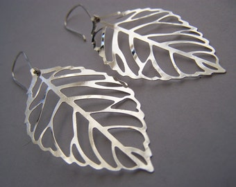 FREE SHIPPING WAI - Leaf Skeleton Earrings (free shipping with another item) A nature inspired gift with other colors available also
